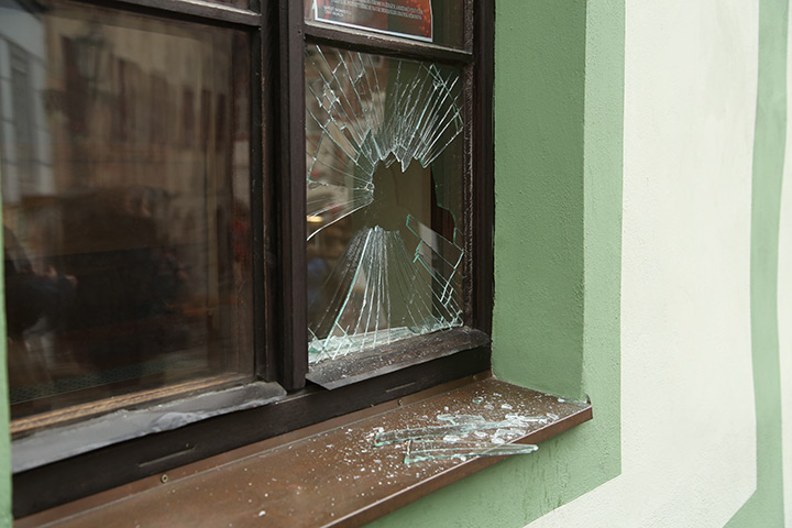 A2B Glass are able to board up broken windows while they are being repaired in Stockton On Tees.
